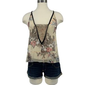 Staring At Stars Sheer Floral Beaded Lace Tank